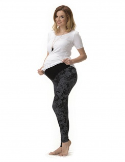 Umstand Hose Leggings lang Bauch gekämmte Baumwolle Muster-8-Blumen-Schwarz