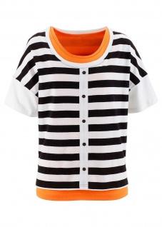BPC Shirt Longtop 2-tlg. Bluse Top Tunika Streifen schwarz weiss orange 970574