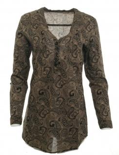 Cheer Damen Longbluse Bluse Shirt langarm Paisley Muster braun Gr. 34 609594