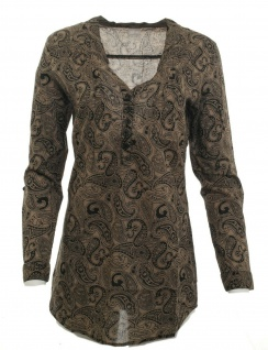 Cheer Damen Longbluse Bluse Shirt langarm Paisley Muster braun Gr. 36 609594