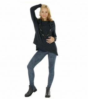 Umstand Hose Leggings lang Bauch gekämmte Baumwolle Muster-4-Jeans-Blau