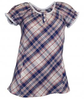 Cheer Damen Bluse Spitze Puffärmel Karo Shirt Tunika weiß blau 541856