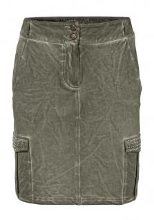 B.C. Damen Rock Jerseyrock Skirt Strass Taschen Stretch oliv 130951