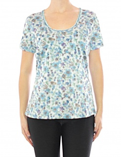 Damen Tesini Linea Shirt Blumen Glitzer T-Shirt Bluse Top 085374