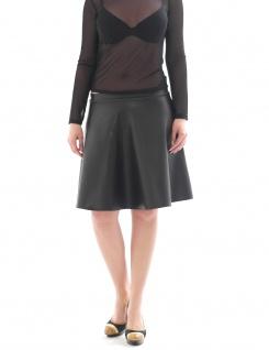 Rock Knielang schwingend Lack Kunstleder-Optik fleece innen Midi swing skirt