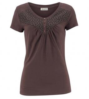 Chillytime Damen Shirt Spitze Kurzarm T-Shirt Bluse Tunika dunkelbraun 561653