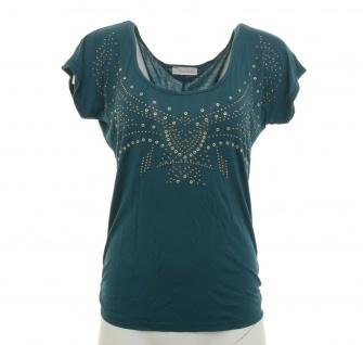 Aniston Damen Shirt kurzarm Strass T-Shirt Bluse Tunika petrol 36 205704