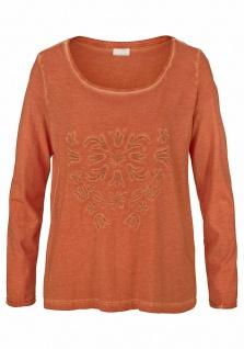 Cheer Damen Shirt langarm Bluse Pullover Stickerei rost Gr. 40 569210