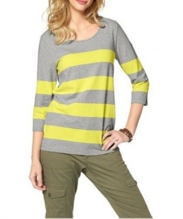Cheer Damen Shirt 3/4 Arm Streifen Bluse Tunika grau gelb Gr. 36 603630