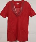 Sheego Pailletten Tunika Bluse Longbluse Rot Kurzarm Shirt T-Shirt V-Neck 220992
