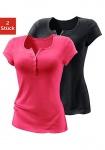 H.I.S Damen T-Shirt Tunika Bluse Top Shirt Doppelpack schwarz/pink 895818