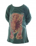 Kinder Pullover Shirt Langarm Pulli Sweatshirt Tiger bedruckt Grün BFL-KT-01