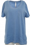 Sheego Damen T-Shirt Brusttasche kurzarm Shirt Bluse Tunika blau 386158