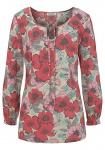 Boysens Bluse Raffung Blumen Muster Druckbluse Langarm Tunika Shirt 695797