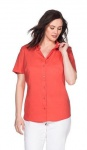 Sheego Damen Bluse kurzarm Hemd Shirt Knopfleiste Stretch korallrot 449746
