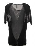 Rainbow Damen Oversize Netz-Shirt Longshirt 3/4 Arm Stretch schwarz 957786