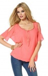 Melrose Damen Chiffon Tunika Shirt Bluse kurzarm Strasssteine lachsrosa 800671