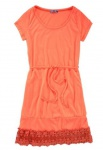 AJC Kleid Spitze Kurzarm Spitzenkleid Gr. 36 neon orange 581858