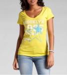 Rainbow Damen T-Shirt bedruckt kurzarm Shirt Bluse Tunika gelb Gr. 36 939047