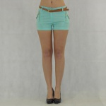 Damen Shorts mit Gürtel Hot Pants kurze Hose Bermuda Stretch