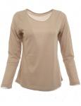 Damen Bluse Langarm Figurbetont Shirt Pullover Polyester Gold Gr. 42 615453