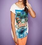 Rainbow Damen Longshirt Shirt Tunika Top Bluse T-Shirt Aufdruck Polyester 926586