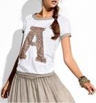Rainbow Damen T-Shirt kurzarm Bluse Tunika Pailletten Gr. 32/34 weiss 929560