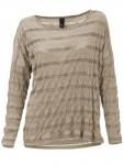 B.C. Damen Rundhalsshirt Shirt Langarm Pullover Loch Muster Häkel taupe 050405