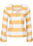 Bodyflirt Damen Bluse mit Schnürung Shirt Tunika Streifen langarm 943438