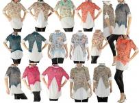 Hemd Shirt Tunika Poncho Bluse Tank TOP 3 Teile SET T-Shirt Halstuch Pulli
