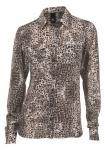 B.C. Damen Druckbluse Bluse Langarm Shirt Hemd Knopfleiste beige Gr. 36 107135