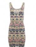 AJC Damen Schlauchkleid Minikleid Kleid Mini Topkleid navajo pink Gr. 32 609158