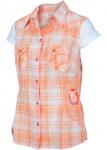 Damen Karo Hemd Apricose Bluse ohne Arm T- Shirt Tunika Top 951754