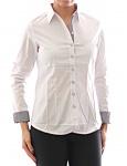 Damen Bluse Hemd Langarm Shirt Tunika Business Weiss Baumwolle 349