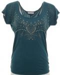 Aniston T-Shirt Shirt Nieten Tunika Bluse Top Kurzarm Petrol Viskose 205704