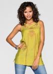 Damen Rainbow Blusen Top Shirt Tunika T-Shirt Longtop Spitze Hellgelb 907926