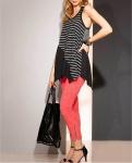 Rainbow Zipfel Longtop Streifen Schwarz Weiß Top Tank Shirt 928922