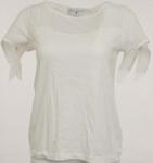 Rick Cardona Knotenshirt Shirt Knoten kurzarm Bluse Tunika ecru Gr. 38 120384