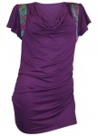Wasserfall Longshirt Satineinsatz Raffung Shirt Tunika kurzarm purple 808590