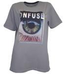 Cross Jeans Damen T-Shirt Confused Print kurzarm Shirt Tunika Top grau 765999