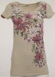 Boysens Damen T-Shirt Blumen kurzarm Shirt Bluse Tunika beige 121009