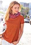 Damen Cheer Shirt bedruckt kurzarm T-Shirt Bluse Tunika Top orange 516055
