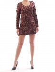Kleid Minikleid Stretch Longshirt Shirt Top Tunika Braun gemustert 632645