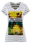 BPC Damen T-Shirt Aufdruck Streifen kurzarm Tunika Bluse grau weiss 924139