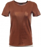 Chillytime Damen T-Shirt Glitzer kurzarm Bluse Tunika bronze Gr. 34 373497