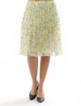 Damen Chiffonrock Rock knielang Blumen Muster Falten Skirt gelb 197858