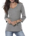 Corley Damen 2-in-1-Shirt 3/4 Arm Bluse Tunika Pullover grau 709639