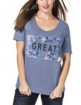 Sheego Damen T-Shirt Print Great Shirt kurzarm Bluse Tunika blau 479694