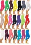 Damen 3/4 Caprileggings Leggins blickdicht Baumwolle Capri-Hose Leggings kurz