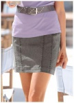 Chillytime Damen Mini Rock Jeansrock Jeans Skirt Stretchrock Grau 534204